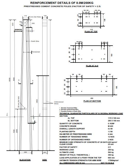8 Meter PCC Pole